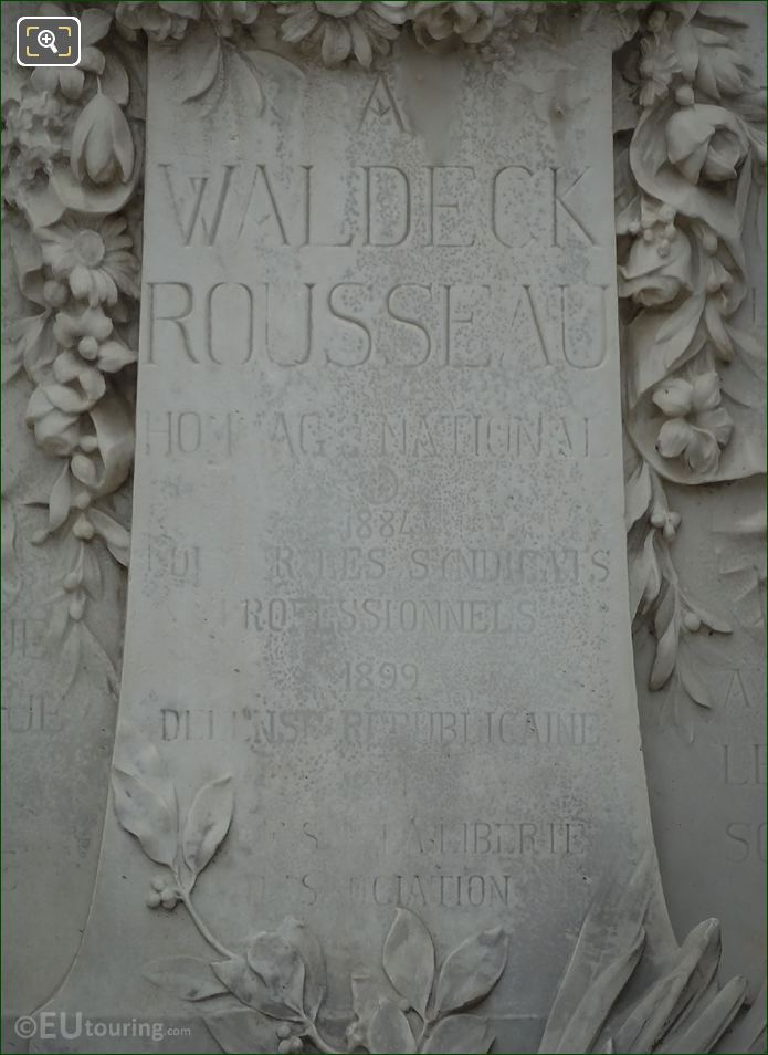 Waldeck-Rousseau Monument Central Front Inscription