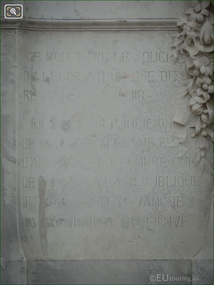 Monument To Waldeck-Rousseau LHS Inscription Front