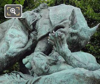 Rhinoceros Attaque Par Un Tigre Statue By Auguste Nicolas Cain