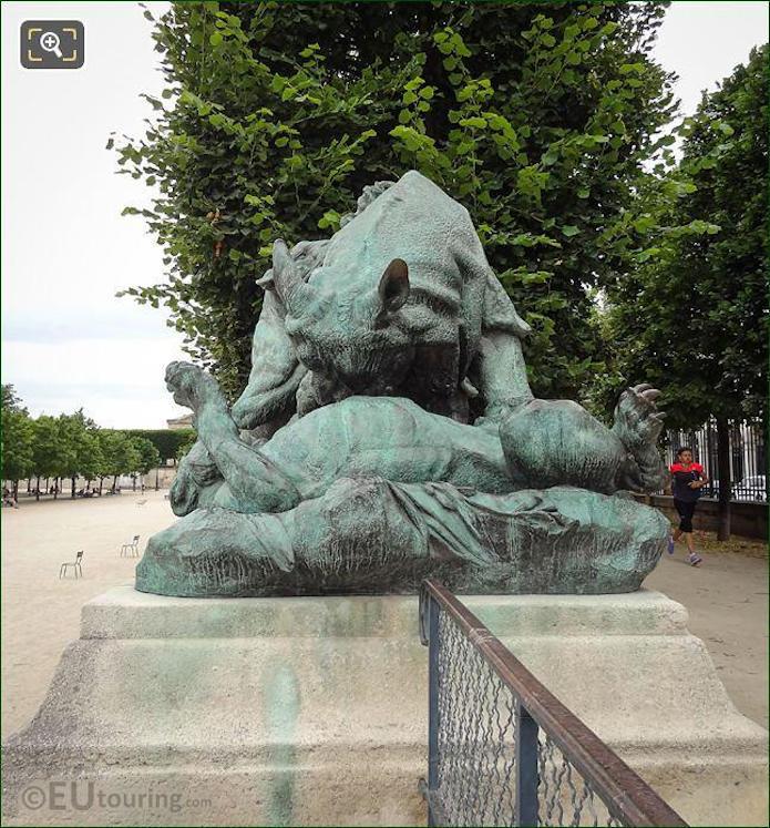 1882 Statue Rhinoceros Attaque Par Un Tigre