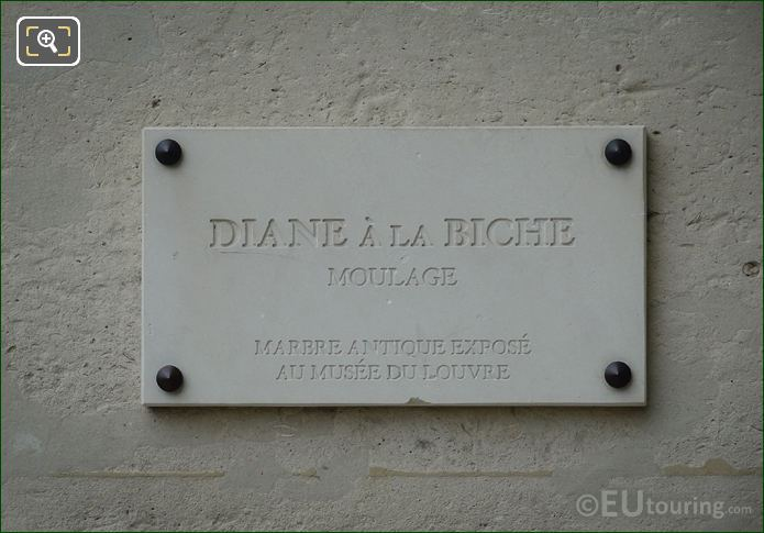 Stone Plaque On Diane A La Biche Statue