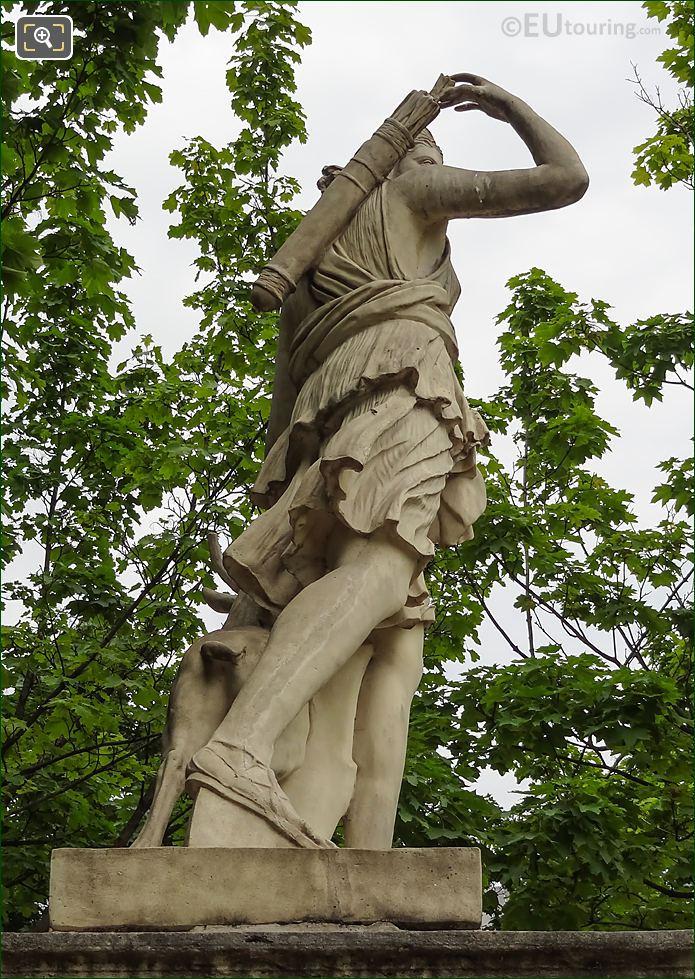 Side View Of Goddess Of The Hunt Statue Diane A La Biche