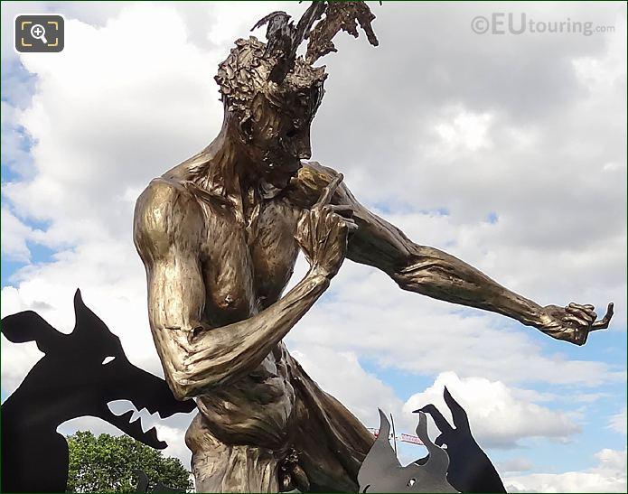2016 Golden Acteon Sculpture With Black Hounds