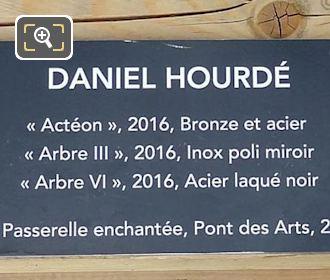Information Plaque For Acteon Sculpture