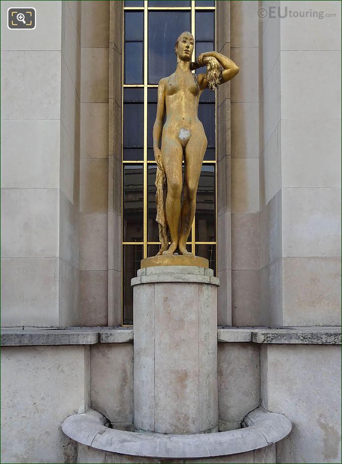 Le Matin Statue On Stone Pedestal