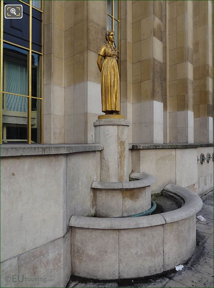 Les Fruits Statue On Stone Pedestal
