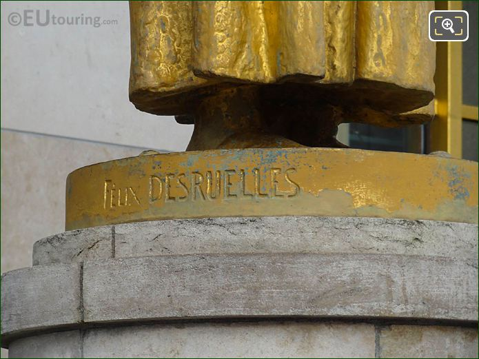 Felix Desruelles Inscription On Les Fruits Statue