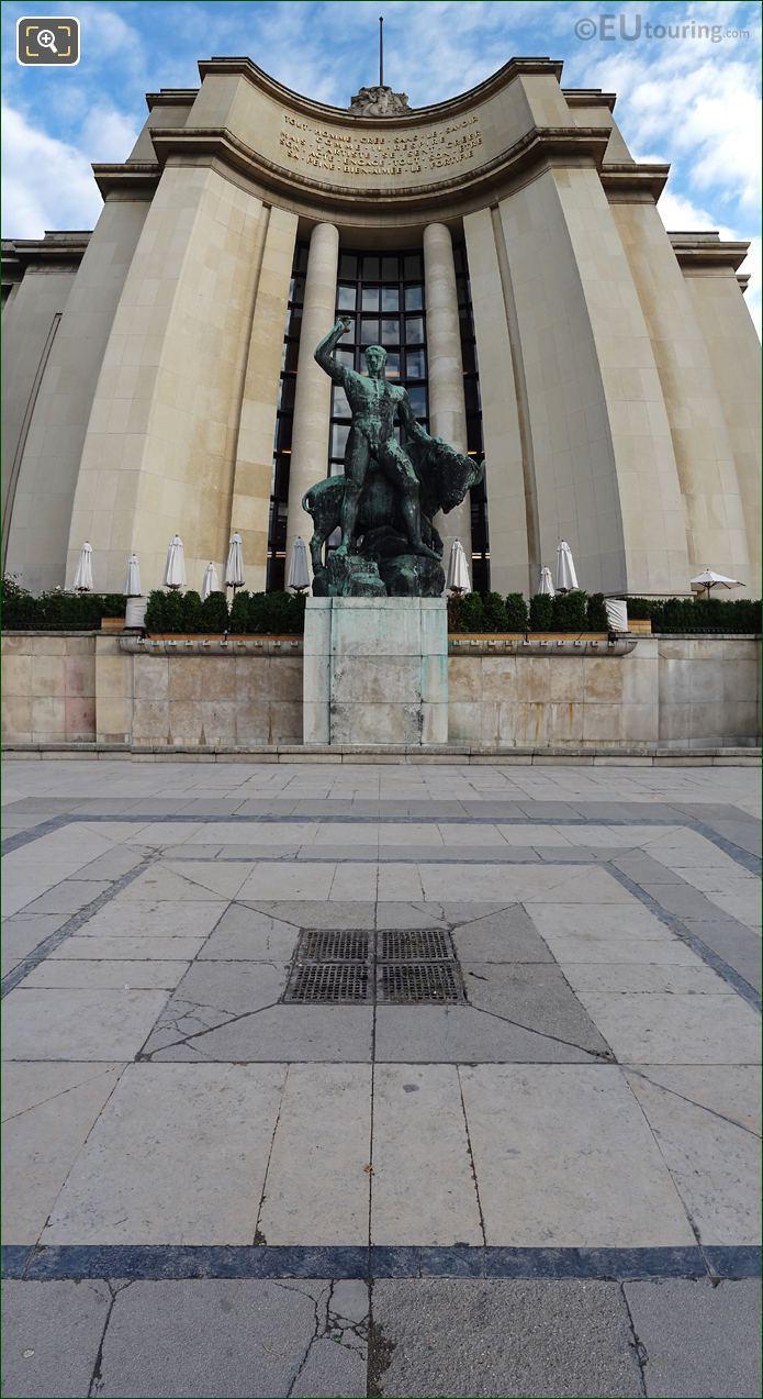 Panoramic Hercules And Bull Statue Palais De Chaillot