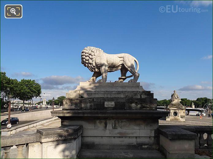 Jardin Tuileries SW Lion Statue On Pedestal