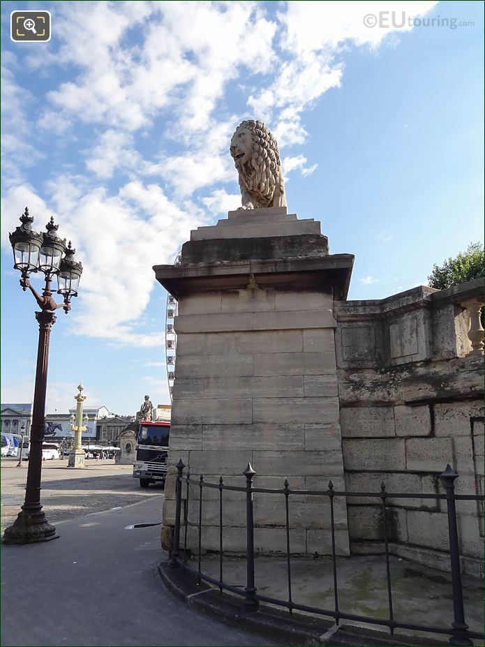 South Side Of Lion Statue And Stone Column