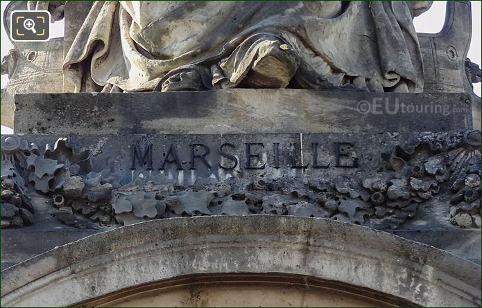 Marseille Inscription On Statue Pedestal