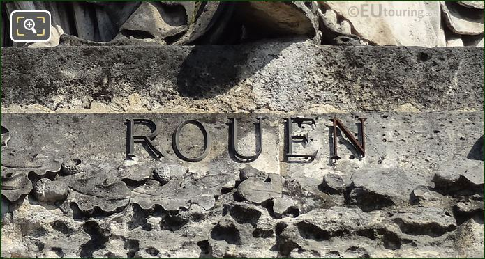City Of Rouen Inscription On Statue Base