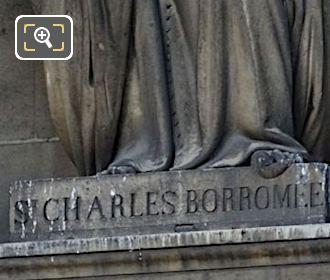 Inscription On Saint Charles De Borromee Statue