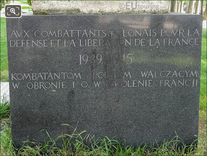 Inscription Granite Base Monument To Polish Fighters