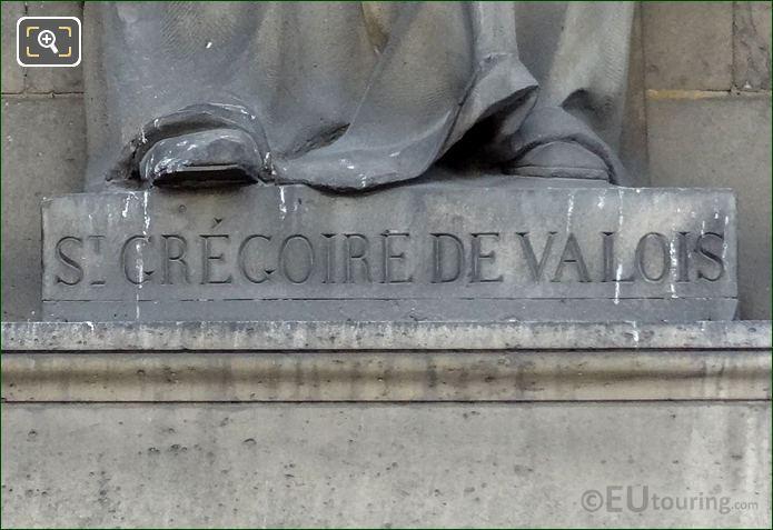 St Gregoire De Valois Inscription Statue Base