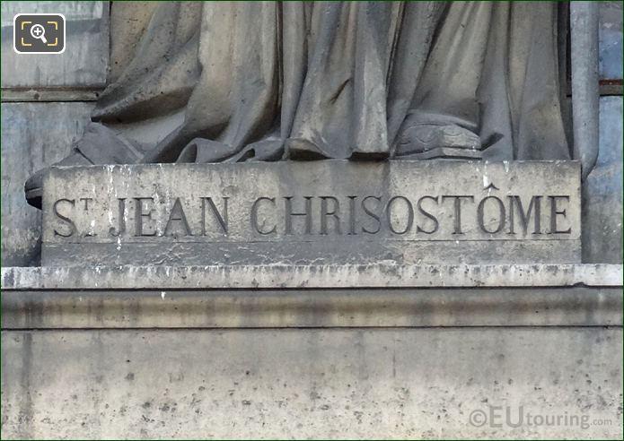 St Jean Chrisostome Inscription On Pedestal