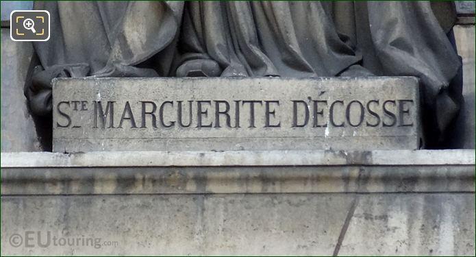 St Marguerite Decosse Inscription On Pedestal