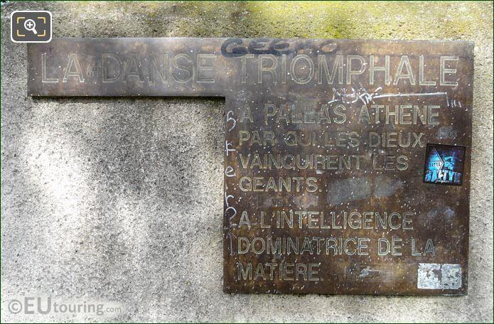 Info Plaque La Danse Triomphale A Pallas Athene Statue