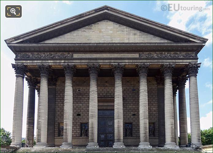 North Facade Of Eglise De La Madeleine With Saint Jean Statue
