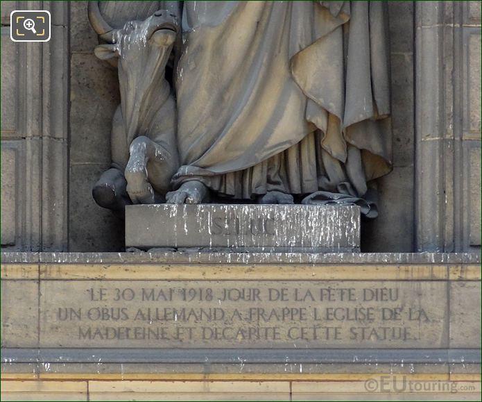 Saint Luke Inscription On Statue Pedestal
