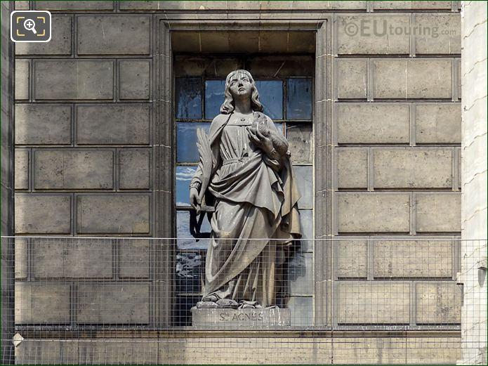 Saint Agnes Statue On Eglise De La Madeleine