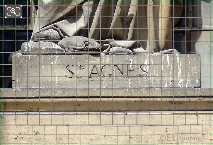 Saint Agnes Inscription On Statue Base