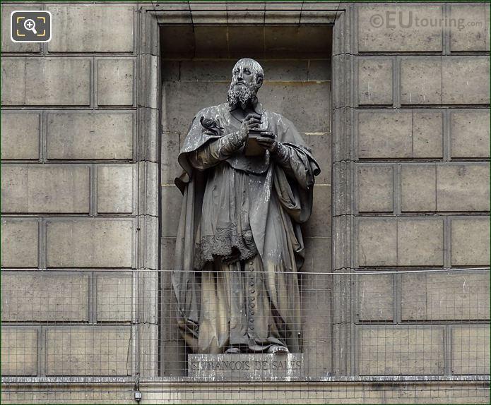 Saint Francois De Sales Statue On Eglise De La Madeleine