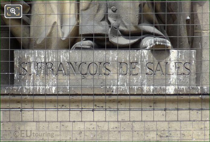 Saint Francois De Sales Inscription On Statue Pedestal