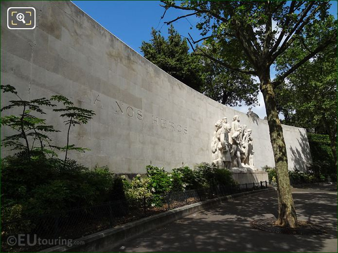 World War I Monument With Curving Stone Wall RHS