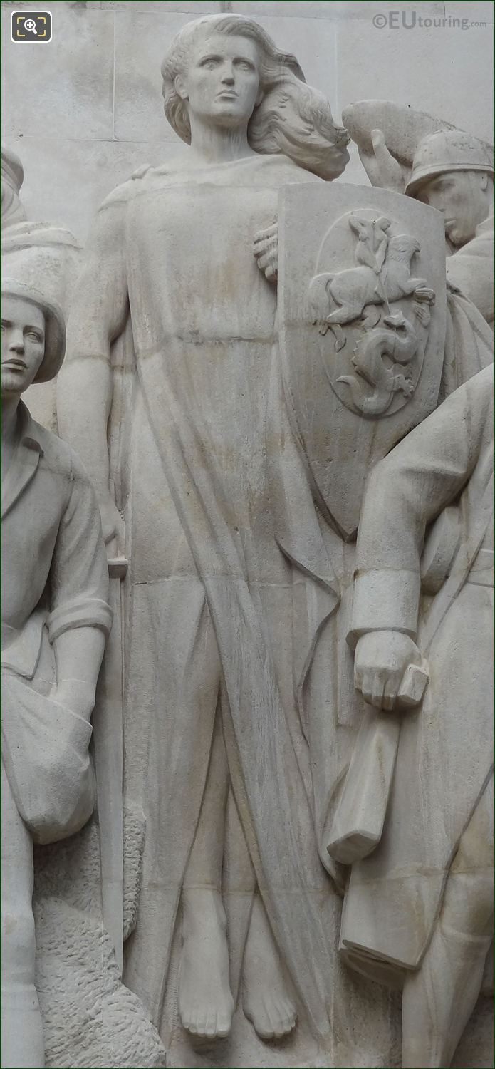 Central Female Figure Holding A Shield On World War I Monument