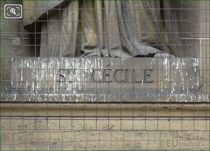 Sainte Cecile Inscription On Statue Pedestal