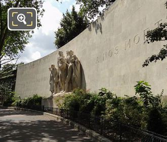 World War I Monument With Its Curving Stone Wall LHS