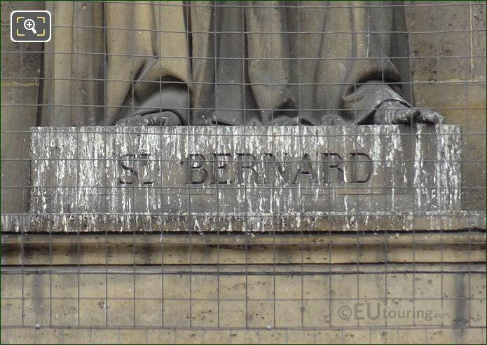 Saint Bernard Inscription On Statue Pedestal