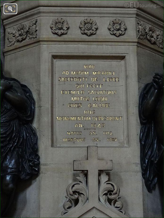 Cenotaphe Gold Inscription On Monument De l'Abbe De l'Epee