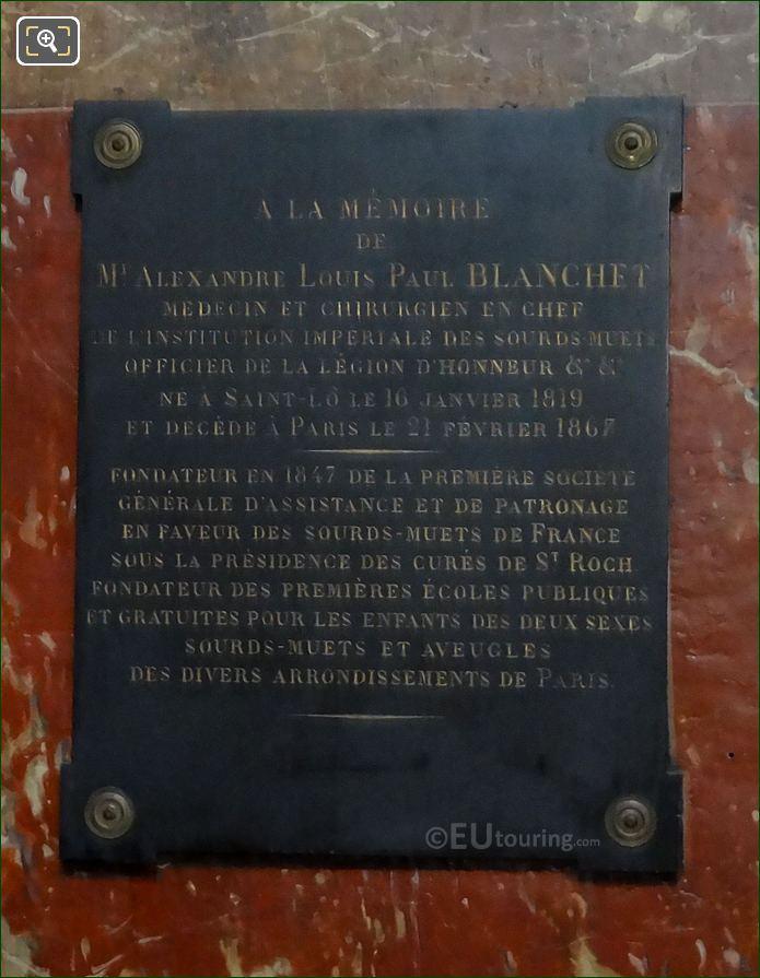 Third Plaque For The Monument De l'Abbe De l'Epee