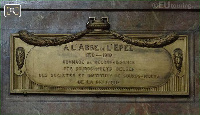 Brass Plaque For Monument De l'Abbe De l'Epee At Eglise Saint-Roch