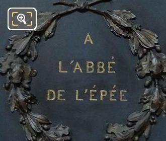 Second Plaque For The Monument De l'Abbe De l'Epee
