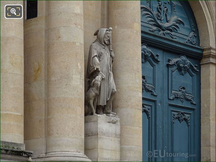Saint Roch Statue And Front Doors Of Eglise Saint-Roch
