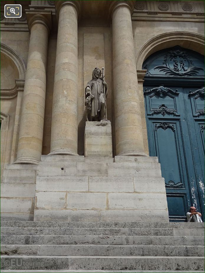 South Facade Of Eglise Saint-Roch With Saint Roch Statue