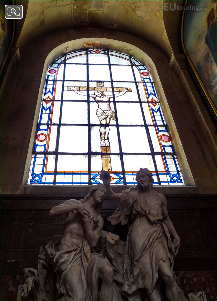 Baptism Of Jesus Statue With Eglise Saint-Roch Stained Glass Window