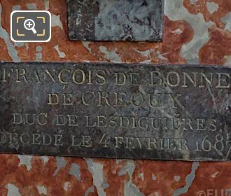 Stone Plaque Under Francois De Crequy Bust Inside Eglise Saint-Roch