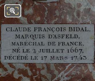 Stone Plaque For Claude Francois Bidal, Marquis d'Asfeld Sculpture