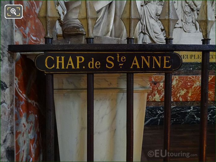 Chapelle De Sainte Anne Plaque On Railings In Eglise Saint-Roch