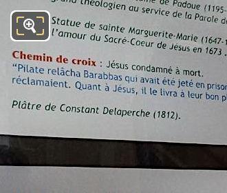 Tourist Information Board For Jesus Condamne A Mort Sculpture