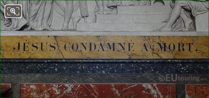 Jesus Condamne A Mort Inscription On Sculpture Frame