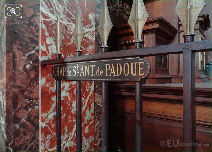 Chapelle Saint Antoine De Padoue Plaque Inside Eglise Saint-Roch