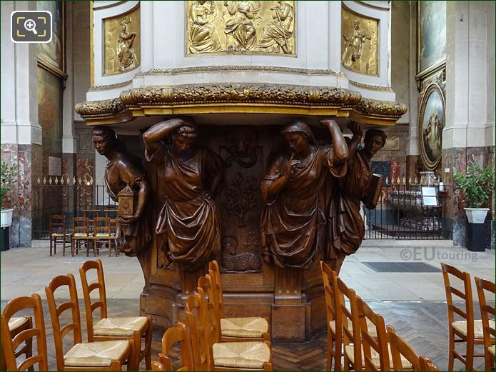 Pulpit Carved Wooden Caryatids Inside Eglise Saint-Roch