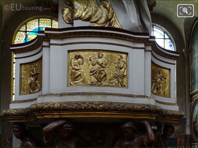 Gilded Bas Reliefs Around Pulpit In Eglise Saint-Roch