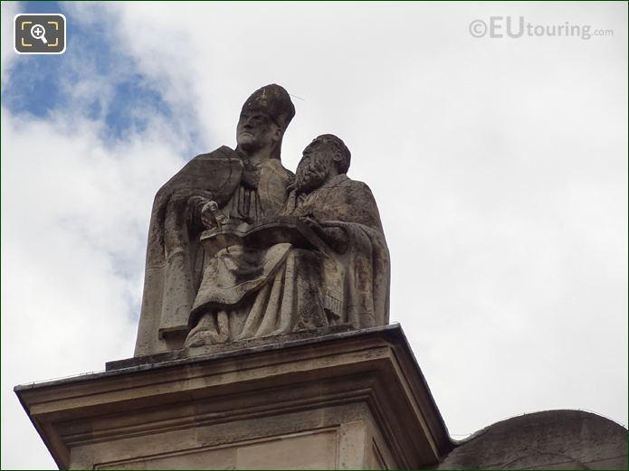 Les Peres De l'Eglise Statue On Eglise Saint-Roch In Paris