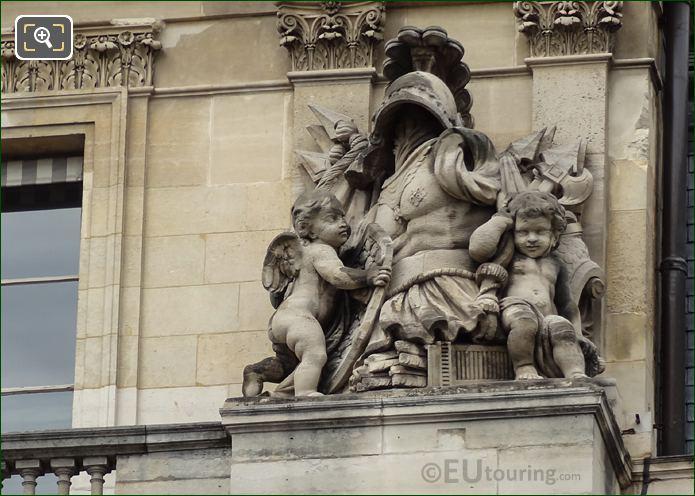 Central Pavilion Right Hand Side Trophee Sculpture On Palais Royal